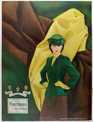 Vintage 1944 FORSTMANN WOOL Full Page Large Magazine Print Ad: 40's Fashion
