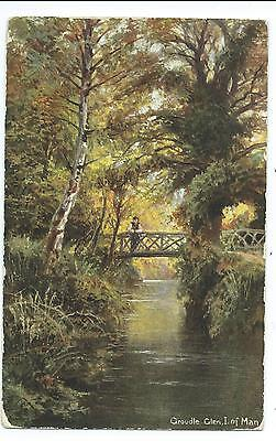 ISLE OF MAN - RUSTIC BRIDGE, GROUDLE GLEN  1907 Postcard