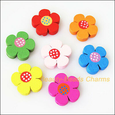 15Pcs Mixed Craft Wooden Sun Flower Star Spacer Beads Charms 19.5mm