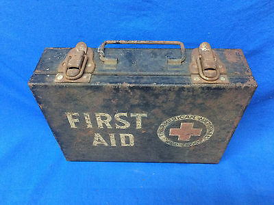 Vintage American Red Cross First Aid Kit Metal Box With Contents
