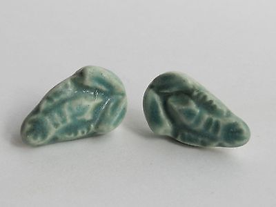 Rare Pair Vintage Canadian DEICHMANN Pottery & Sterling Silver Lobster Earrings