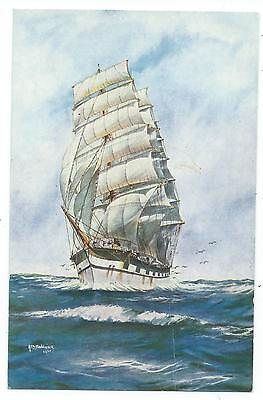 """SHIPPING - Sailing Ship """"ROSS-SHIRE"""" Artist signed BANNISTER Salmon Postcard"""
