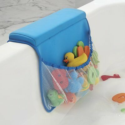 mDesign Baby And Toddler Bath Tub Elbow Rest With Bottle Holder Blue Brand New