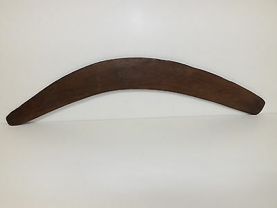 Large Old Aboriginal Boomerang Scratch Carved Wth Emus & Eucalyptus Leaves