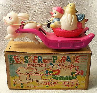 "Vintage Tin Friction Celluloid ""easter Parade"" Toy Rabbit Ducks Chick Japan Mib"
