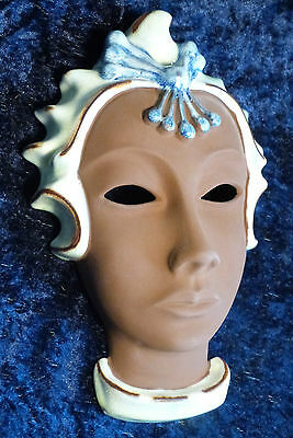 Rare Vintage Karlsruher German Art Deco Female Mask In Elaborate Headdress