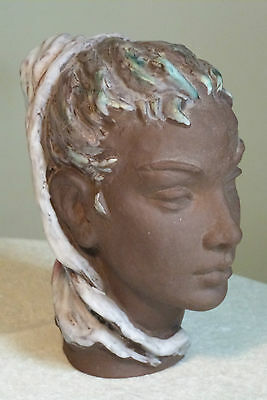 RARE VINTAGE KARLSRUHER GERMAN 1950s GLAZED TERRACOTTA BUST / HEAD OF A LADY