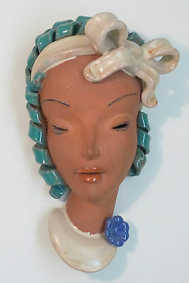 Czechoslovakian Art Deco Ceramic Wall Mask Head, Lady With A Bow, Keramia