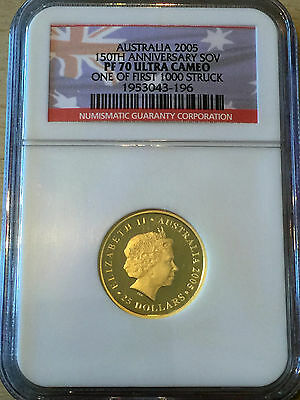 2005 Perth Mint Full Gold Sovereign, Australia Proof Coin NGC PF70 Perfect Grade