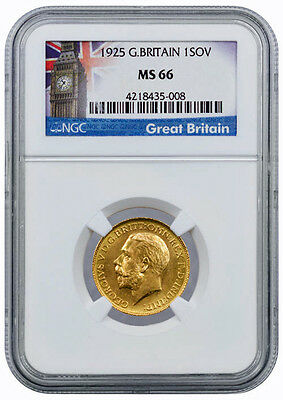 1925 King George V Gold Full Sovereign, NGC MS66, Very High Grade