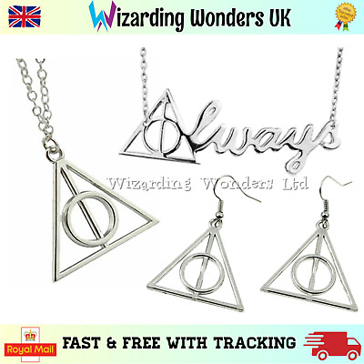 Harry Potter Deathly Hallows Necklace Earrings Fixed Rotating Silver Bronze Gold