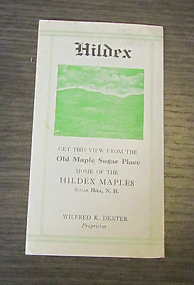 1930's Hildex Maples Sugar Hill New Hampshire Advertising Map Booklet Vintage