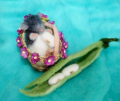 OOAK Needle Felted Miniature baby rat mouse in basket with haricot handmade gift