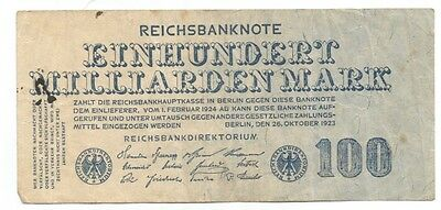 Germany 100 Milliarden (billion) Mark 1923 P-126. (B115)