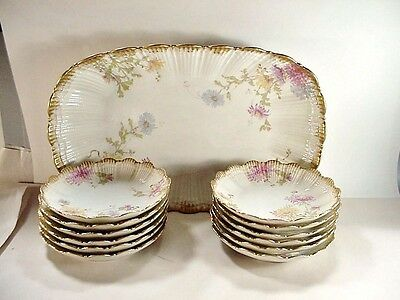 Hand Painted Porcelain Redon Limoges France Ice Cream Set 12 Plates + Tray 1890s
