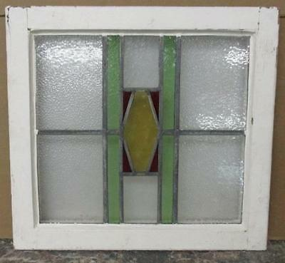 """OLD ENGLISH LEADED STAINED GLASS WINDOW Pretty, Abstract Geometric 21.5"""" x 19"""""""