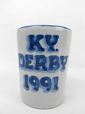 "M A Hadley Stoneware Pottery Kentucky Derby 1991 Glass 3 5/8"" Tall #2605"