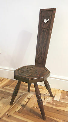 ANTIQUE Arts + Crafts Era Morris Style Finely carved SPINNING CHAIR Stool Heart