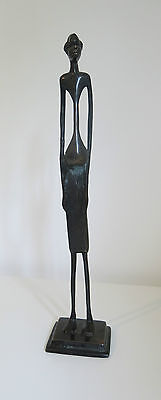 Rare Elongated AFRICAN WOMAN BRONZE STATUE Sculpture ART Giagometti Style