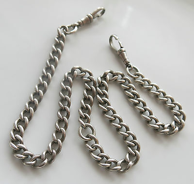 """STERLING SILVER 17"""" 39g DOUBLE ALBERT WATCH CHAIN Lion Passant Marked Links"""