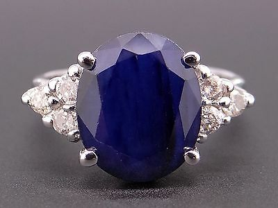 14k White Gold 6.30ct Oval Cut Blue Sapphire Diamond Cluster Ring Size 7