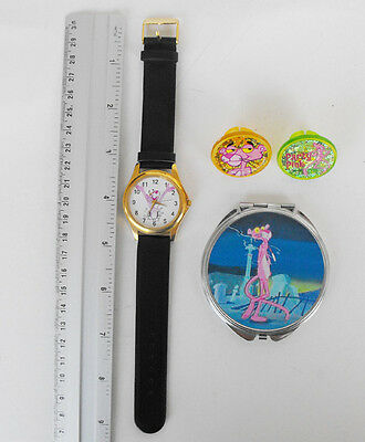 PINK PANTHER lot of 4 items: watch, 2 rings and 1 mirror must have L@@K
