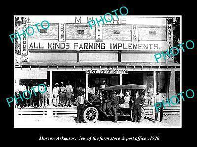 OLD LARGE HISTORIC PHOTO OF MOSCOW ARKANSAS, THE FARM STORE & POST OFFICE c1920