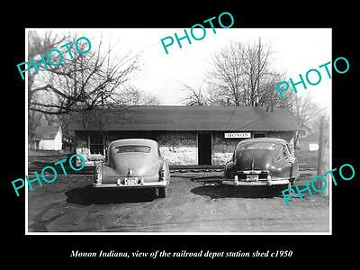 OLD LARGE HISTORIC PHOTO OF MONON INDIANA, THE RAILROAD DEPOT SHED c1950