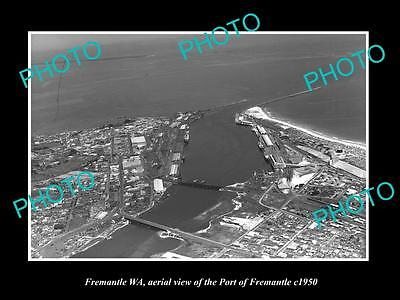 OLD LARGE HISTORIC PHOTO OF FREMANTLE WA, AERIAL VIEW OF THE PORT c1950