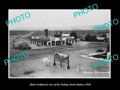 OLD LARGE HISTORIC PHOTO OF BAKER CALIFORNIA, THE FAILINGS SERVICE STATION c1940