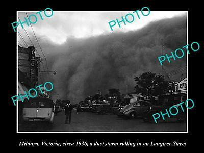 OLD LARGE HISTORIC PHOTO OF MILDURA VICTORIA, APPROACH OF THE DUST STORM c1936