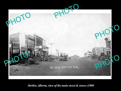 OLD LARGE HISTORIC PHOTO OF STETTLER ALBERTA, THE MAIN STREET & STORES c1900
