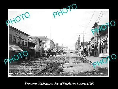OLD LARGE HISTORIC PHOTO OF BREMERTON WASHINGTON, PACIFIC Ave & STORES c1920