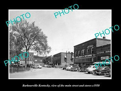 OLD LARGE HISTORIC PHOTO OF BARBOURVILLE KENTUCKY, THE MAIN St & STORES c1950