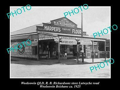 OLD LARGE HISTORIC PHOTO OF WOOLOOWIN QLD, RICHARDSONS GENERAL STORE c1925