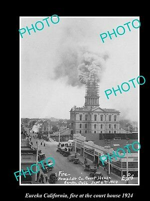 OLD LARGE HISTORIC PHOTO OF EUREKA CALIFORNIA, FIRE IN THE COURT HOUSE c1924