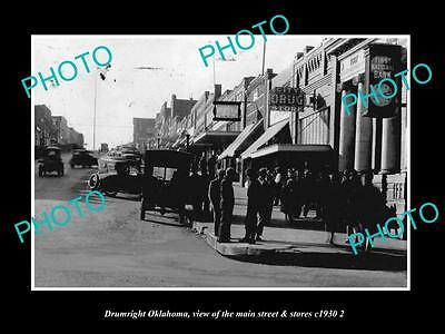 OLD LARGE HISTORIC PHOTO OF DRUMRIGHT OKLAHOMA, THE MAIN STREET & STORES c1930 3