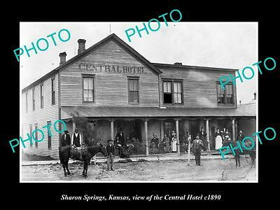 OLD LARGE HISTORIC PHOTO OF SHARON SPRINGS KANSAS, THE CENTRAL HOTEL c1890