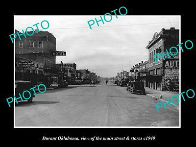 OLD LARGE HISTORIC PHOTO OF DURANT OKLAHOMA, THE MAIN STREET & STORES c1940