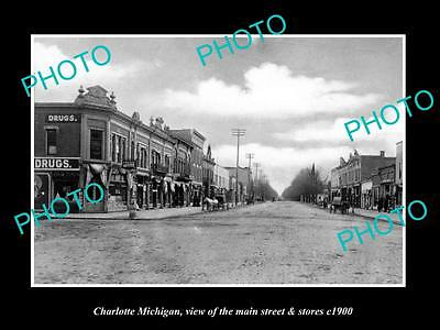 OLD LARGE HISTORIC PHOTO OF CHARLOTTE MICHIGAN, THE MAIN STREET & STORES c1900