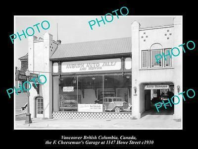 OLD LARGE HISTORIC PHOTO OF VANCOUVER CANADA, CHEESEMANS MOTOR GARAGE c1930