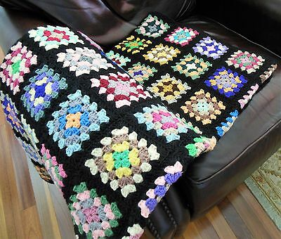 Vintage Granny Square Black Afghan 100% Wool Classic Throw Cabin Blanket