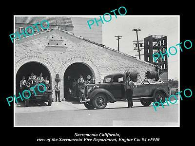 OLD LARGE HISTORIC PHOTO OF SACRAMENTO CALIFORNIA, THE No 4 FIRE STATION c1940