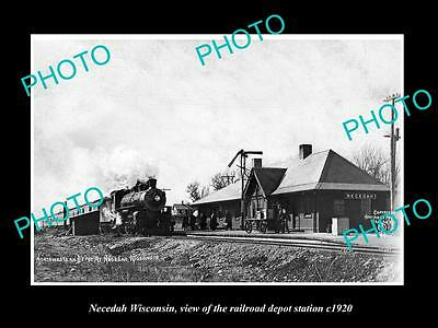 OLD LARGE HISTORIC PHOTO OF NEDECAH WISCONSIN, THE RAILROAD DEPOT STATION c1920