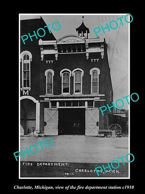 Old Large Historic Photo Of Charlotte Michigan, The Fire Department Station 1910