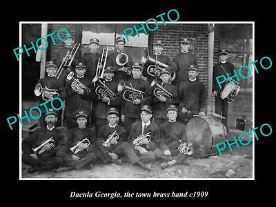 OLD LARGE HISTORIC PHOTO OF DACULA GEORGIA, THE TOWN BRASS BAND c1909