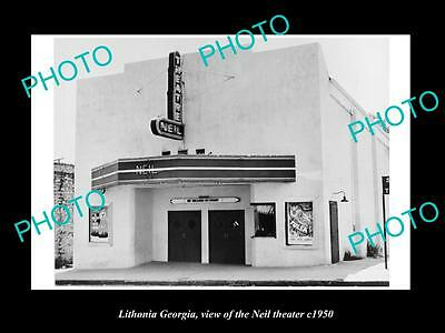 OLD LARGE HISTORIC PHOTO OF LITHONIA GEORGIA, VIEW OF THE NEIL THEATER c1950