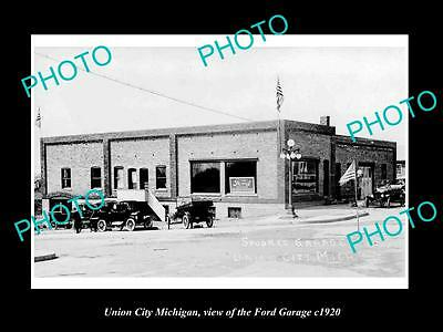 OLD LARGE HISTORIC PHOTO OF UNION CITY MICHIGAN, THE FORD MOTOR GARAGE c1920