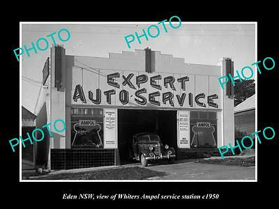 OLD LARGE HISTORIC PHOTO OF EDEN NSW, THE WHITERS AMPOL SERVICE STATION, c1950