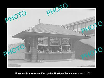 OLD HISTORIC PHOTO OF WOODLAWN PENNSYLVANIA, RAILROAD STATION NEWSTAND c1920